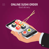Online sushi. Ecommerce concept order food online website. Fast food sushi delivery online service. Flat 3d isometric. Vector illustration royalty free illustration