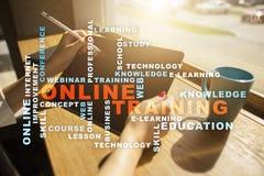 Online szkolenie na wirtualnym ekranie jest edukacja starego odizolowane pojęcia Słowo chmura obrazy royalty free