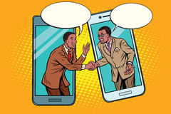 Online the talks of the two businessmen. Pop art retro vector illustration. African American people Stock Images