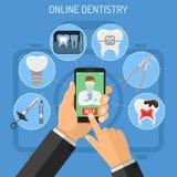 Online-tandläkekonstbegrepp Royaltyfri Bild