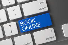 Online-tangentbord för blå bok på tangentbordet 3d Royaltyfri Fotografi