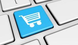Online-tangentbord för shoppingsymbolsknapp stock illustrationer
