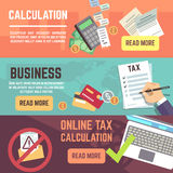Online tax accountanting, taxation, business finance vector banners set Stock Image