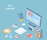 Online tax, bills, invoices paying, accounting. Payment Application Interface on the monitor screen, credit card, documents. Calendar, calculator, piles of vector illustration