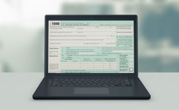Online tax filing. Front view of a computer laptop with a tax form on screen, concept of online tax filing 3d render Stock Illustration
