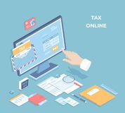 Online tax payment, mobile app. Filling tax form via computer. Hand push the pay button. Envelope, monitor, documents, calendar vector illustration