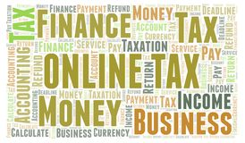 Online Tax word cloud. Wordcloud made with text only vector illustration
