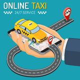 Online Taxi Isometric Concept stock photo