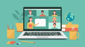 Free Online Teacher Teaching Students On Laptop Screen, Distance Learning Royalty Free Stock Photos - 186594428
