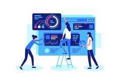 Online teamwork on a common cause in group. stock illustration