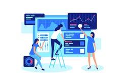 Online teamwork on marketing in internet in group. stock illustration