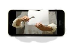 Online-techservice och utbildning för smart telefon Arkivfoto