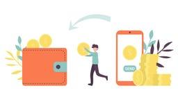 Online-tecken och mobiltelefon för pengaröverföring royaltyfri illustrationer