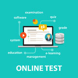 Online test exams quiz with computer laptop assessment. Vector Royalty Free Stock Images