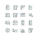 Online test, internet quiz, questionnaire, survey, exam, quizzes thin line vector icons. Linear checklist for feedback, stats list illustration Royalty Free Stock Photo