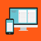 Online test. Vector illustration. Online test. Computer online test and the cellphone with the questionnaire. Flat design Stock Image