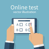 Online test vector. Man holding tablet in hands, takes part in online test. Touching finger to screen version of the questionnaire. Quiz on mobile device. Vector Royalty Free Stock Image