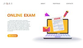 Online-testa eller examenservicebegrepp royaltyfri illustrationer
