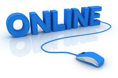 Online text. And computer mouse. 3D render Royalty Free Stock Image