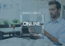 Online text and graphic against man in cafe with tablet and blue overlay Stock Image