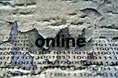 Online text on grunge background Royalty Free Stock Photo