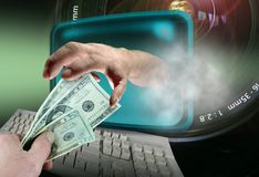 Online Thief. Money composite Royalty Free Stock Photography