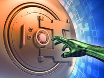 Online thief. Vault door forcing to access protected data. Digital illustration royalty free illustration