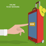 Online Ticket Booking Flat Vector Concept. Royalty Free Stock Photo