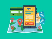 Online ticket booking. Internet ecommerce, travel and technology. Flat vector illustration royalty free illustration