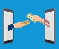 Online Ticket Order. Mans Hand With Ticket Appeared From Smartphone and another hand holding money. Vector illustration in flat style Royalty Free Stock Image