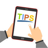 Online Tips. Education concept: smartphone with Tips text on display. Reading tips online using mobile smart phone vector illustration
