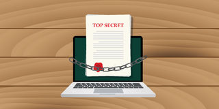 Online top secret document illustrated with chain Stock Image