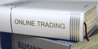 Online Trading - Book Title. 3d. Book in the Pile with the Title on the Spine Online Trading. Stack of Books Closeup and one with Title - Online Trading. Online Stock Images