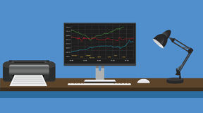 Online trading concept computer pc manage graph and stock report Royalty Free Stock Photos
