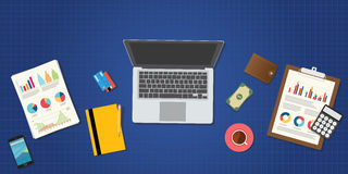 Online trading and financial management. Concept vector flat Royalty Free Stock Photo