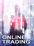 Online trading, FOREX, Investment concept on blurred business center background. Abstract Cover Design Vertical Format.  royalty free stock photography