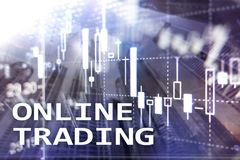 Online trading, FOREX, Investment concept on blurred business center background. stock photo