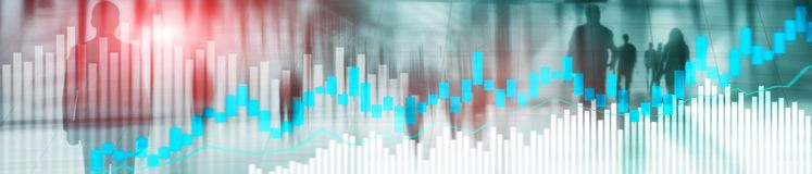 Online trading, FOREX, Investment concept on blurred business center background. Website header banner stock illustration