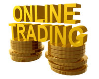 Online trading and gold coins symbol Royalty Free Stock Photos