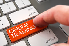 Online Trading - Slim Aluminum Keyboard Concept. 3D. Online Trading Concept - Metallic Keyboard with Orange Keypad. 3D Illustration Royalty Free Stock Photos