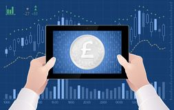 Online Trading of UK Pound Sterling Currency On The Stock Exchange. Online trading of currency exchange. Graphic illustration on the subject of `Currencies / Royalty Free Stock Photography