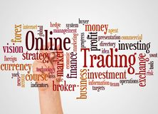 Online Trading word cloud and hand with marker concept. On white background stock photo