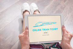 Online train ticket concept on a tablet Royalty Free Stock Photo