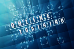 Online training in blue glass cubes Royalty Free Stock Photo