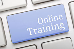 Online Training. Blue Online Training key on laptop