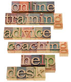 Online training, coaching and help. Online training, coaching, advice and help desk  - a collage of isolated words in vintage wood letterpress printing blocks Stock Photography
