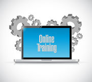Online training computer text sign Royalty Free Stock Images