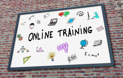 Online training concept on a billboard Stock Photo