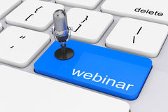 Online Training Concept. Blue Webinar Button with Microphone. 3d Stock Image