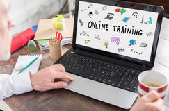 Online training concept on a laptop screen. Online training concept shown on a laptop screen Stock Images
